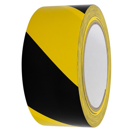 PVC- WARNING-TAPE 50MM X 33M BLACK/YELLOW